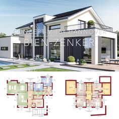 House Architecture Design Floor Plans Modern European Styles & Dream Home Ideas with 2 Story & Gable Modern Architecture House, Architecture Plan, Residential Architecture, Bauhaus Architecture, Modern House Floor Plans, Dream House Plans, Floor Plans 2 Story, Small House Design, Modern House Design