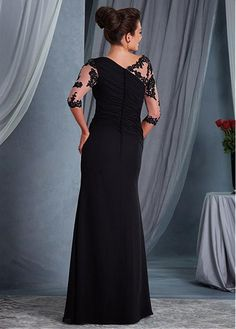 Buy discount Chic Tulle & Chiffon Bateau Neckline 3/4 Length Sleeves Sheath/Column Mother Of The Bride Dresses With Beaded Lace Appliques at Magbridal.com