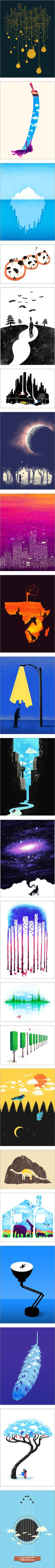 """22 artworks with clever use of negative space. Could also work for Magritte style images."""