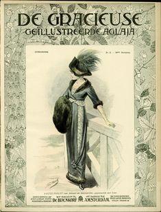 [De Gracieuse] Visite-toilet van fluweel en brocaatzijde, gegarneerd met bont (February 1912)