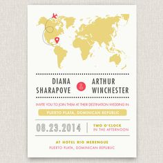 Airfare - Modern destination wedding invitation with map design