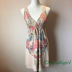 Double Vneck Beige Dress Perfect and soft for summer. No size tag. Fits like a size Small. XS okay if you like it looser. Faux tie empire waist accents bust. Soft 50% polyester 50% rayon machine wash. No Trades Dresses