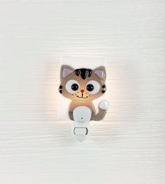 Night light, cat, grey, glass, baby nursery, light, nitelite, baby shower gift, veille sur toi