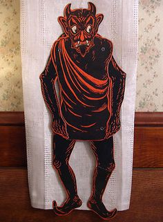 rare inner sanctum vintage halloween jointed devil diecut beistle 1920s vfine - Antique Halloween Decorations