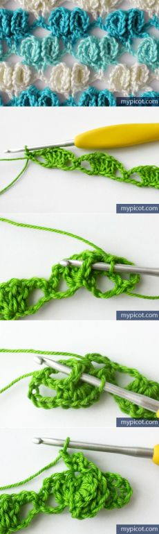 MyPicot Tutorial for Crochet, Knit. Crochet Diy, Form Crochet, Crochet Diagram, Crochet Motif, Crochet Crafts, Crochet Projects, Crochet Tutorials, Crochet Stitches Patterns, Knitting Stitches