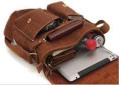 Retro iPad Brown Leather Messenger Bag