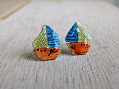 Nautical stud earrings, sea and beach jewerly, orange-blue-yellow boats, solid sterling silver for kids, teens, sailboat studs Blue Brown, Blue Yellow, Orange, Family Necklace, Yellow Pattern, Enamels, Cute Earrings, Sailboat, Mother Day Gifts