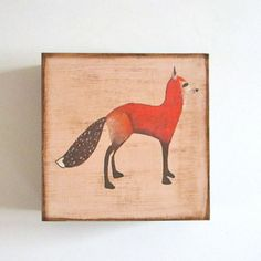 Foxy Red Fox 5x5 art block on wood nature forest woodland animal brown cream black red tile studio