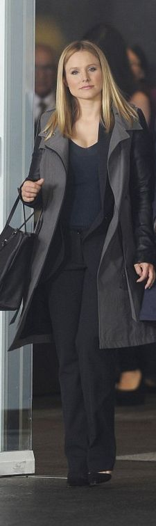 Who made  Kristen Bell's black and gray trench coat?