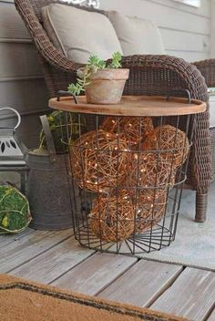 ~This post contains affiliate links~ Source for furniture at the end of post One of our great joys in the spring time is porch time. We sit on the porch before dawn to have our quiet time and often… Daha fazlası Easy Home Decor, Diy Outdoor, House With Porch, Home Improvement, Side Table, Deck Decorating, Patio Decor, Outdoor Lighting, Spring Porch