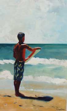 En attente de SurfEn attente de Surf vendu 48 x 30 cm, huile sur toile