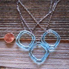 Bombay Sapphire Trio Necklace - Upcycled Glass Jewelry