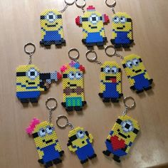 Minion keychains hama beads by danallic_907