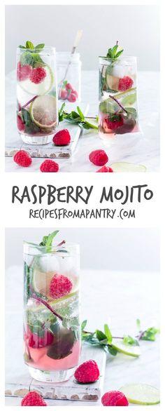 Rasbberry Mojito - Refreshing & simple raspberry mojito recipe made with 5 ingredients - fresh raspberries, mint, lime, white rum and soda water! #mojito #mojitorecipe #glutenfreerecipes #drinkrecipes