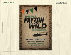 Man Vs Wild Party  Custom Invitation  Wild by serendipitysoiree