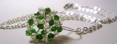 Silver wire wrapped green and clear crystal by LaylasTrinkets, $26.00