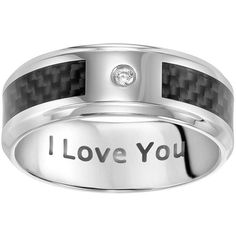 Cherish Always Stainless Steel Diamond Accent I Love You Wedding Band ($96) ❤ liked on Polyvore featuring men's fashion, men's jewelry, men's rings, grey, mens stainless steel rings, mens wedding rings, mens diamond band wedding ring, mens watches jewelry and mens rings