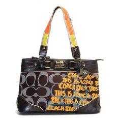 Coach Poppy Coffee Satchel Printed Fabric Leather Trim Signature Bag