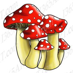 Spotted Mushrooms Clipart Illustration Includes Line by I365Art