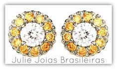 Brincos em ouro branco 750/18k, diamante e berilo (750/18k white gold stud earrings with diamond and beryl)
