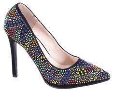 Pantofi cu toc - Pantofi negri cu toc 610N - Zibra