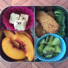 So pretty it doesn't even need a filter #lunch for tomorrow: @gardein seven grain crispy tenders, (the ever present) cucumbers, kiwi, peaches and coconut/mango/pomegranate bites #vegan #govegan #veganfoodshare #instafood #kidsfood #healthychoices #eatmoreplants #EatWhatElephantsEat #momlife #lunchbots #packyourlunch #nofilter #nofilterneeded #plantbased #plantstrong #plantpowered