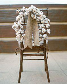 Cotton wreaths for chair backs with a pretty fabric tweed ribbon makes a gorgeous winter wedding detail via Martha Stewart Weddings Cotton Wreath, Martha Stewart Weddings, Wedding Chairs, Real Weddings, Winter Weddings, Rustic Wedding, Tweed Wedding, Fall Wedding, Ladder Decor