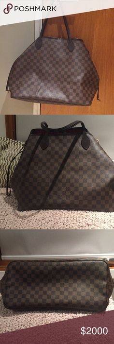 Louis Vuitton Neverfull GM tote bag Authentic legendary Damier Ebene Canvas Louis Vuitton tote bag. It's a city bag , loosen them & you have a chic practical tote bag. The slim leather handles fit over the shoulder. Preowned but taken good care of Comes with authentication papers & receipt , dust bag Louis Vuitton Bags Totes