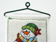 Snowman Cross Stitch Christmas Decoration Ornament,