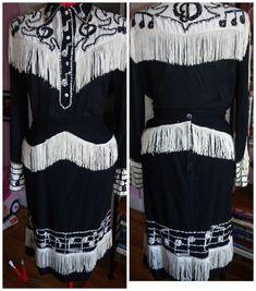 1950s KILLER Western Suit Skirt and Shirt SEQUiNS and FRiNGE MUSiC Notes Med Lrg Rockabilly VlV on Etsy, $471.54 AUD