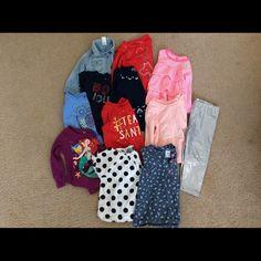 Tops and pants Bundle sale.    1-size 12m,   3-18m,  2-18-24 m,  3-24m,  2-2t Oshkosh, Disney, baby gap,carter's.   Pants size 24m Various Tops