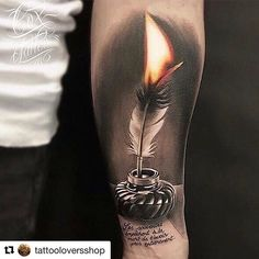 #Repost @tattooloversshop with @get_repost  @cox_tattoo creates amazing tattoos! #inked #candletattoo #flame #flametattoo #tattooing #forearmtattoo #inkedup @tattooloversshop