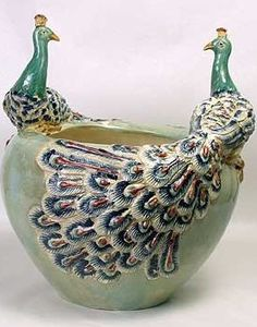Peacock Planter by Nutiques - Majolica style porcelain