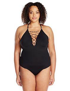 45a9184b93 La Blanca Women's Plus Size Laceup High Neck One Piece Swimsuit, at Amazon  Women's Clothing store: