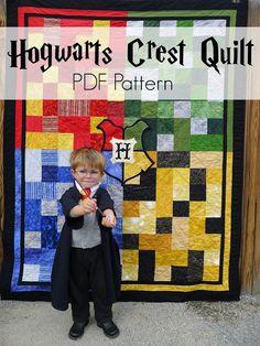 Hogwarts Crest Quilt PDF Pattern.  Harry Potter Gryffindor, Slytherin, Hufflepuff, Ravenclaw