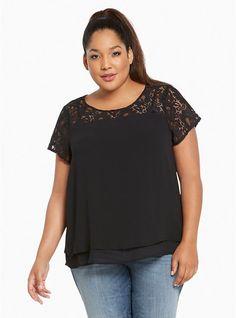 896e26c8a13e TORRID Lace Inset Chiffon Layered Top Plus size 2 Black 2XL Cap Sleeve  Sheer 64 #