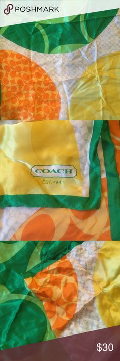 Coach square silk citrus scarf Coach square silk scarf with a citrus theme. Bright and colorful - perfect for summer! Coach Accessories Scarves & Wraps