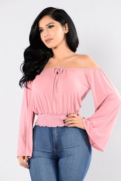 - Available in Black and Mauve - Crop Top - Ruched Waist - Long Bell Sleeves - Off Shoulder - Top Tie - Made in USA - 100% Polyester