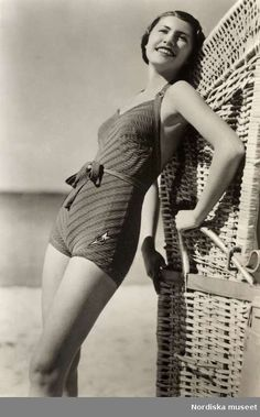 25229fbbf0 Woman in swimsuit, 1930s. Collection Nordiska Museet Swimsuit Edition, 1930s  Fashion, Suit
