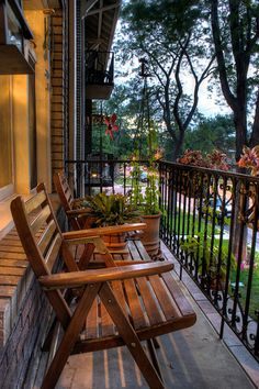 Shady Street Side Balcony- the furniture can double to be used in the  backyard and even in the living room!