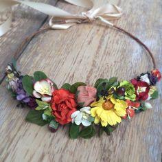 Autumn Flower Crown Wedding Flower Halo by OhDinaFlowerCrowns