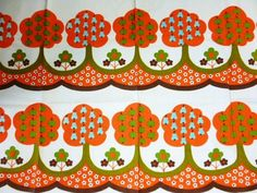 Retro 60's Fabric with Fruit Trees and Flowers
