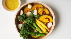 Steamed Vegetables with Rice and Miso-Ginger Dressing Recipe | Bon Appetit