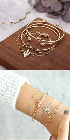Fashion Knotted LOVE Combination Four Piece Bracelet Triangle Arrow Cactus Bracelet Cute Bracelets, Layered Bracelets, Silver Bracelets, Fashion Bracelets, Arrow Jewelry, Pendant Jewelry, Jewelry Gifts, Jewelry Accessories, Jewellery