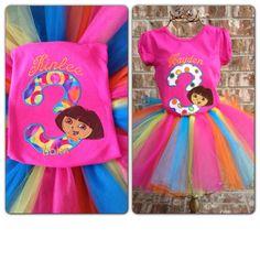 Dora Birthday Colorful Tutu Set by JorjaPorja on Etsy, $35.00