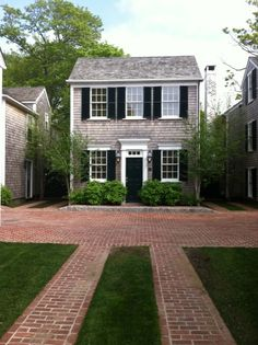 Shingle-style house with brick driveway. Brick Driveway, Brick Paving, Permeable Driveway, Brick Pathway, Home Interior, Interior And Exterior, Architecture, Home Design, Exterior Design