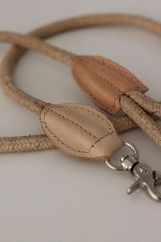 Benji + Moon | Rope and Leather Dog Leash Natural
