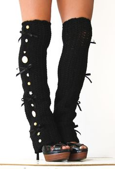 Steampunk Leg Warmers in Black - Over-the-Knee - Many Colors - Neo-Victorian ~ Inspiration only