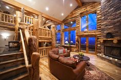 Log cabin style living room...beautiful!