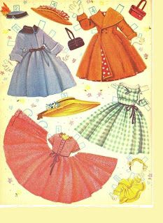 "UMBRELLA GIRLS by ""B. Voss"" (Elizabeth Voss Gartrell) First printed in 1956, by Merrill Publishing has wrap-around and regular dresses. Elizabeth Voss Gartrell painted the covers and costumes! Noted by details like ruffles, patterns, trims, and bows, these feminine frocks are sure to delight you. Artist painted under maiden name - E. Voss, B. Voss, and married name - B. Gartrell, and Elizabeth Gartrell. 4 of 10"